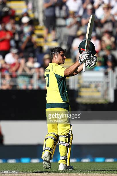Marcus Stoinis of Australia celebrates his century during the first One Day International game between New Zealand and Australia at Eden Park on...
