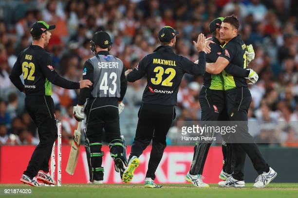 Marcus Stoinis of Australia celebrates the wicket of Tim Seifert of the Black Caps during the International Twenty20 Tri Series Final match between...
