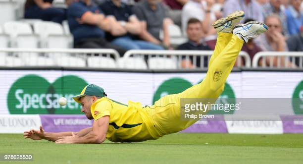 Marcus Stoinis of Australia drops a chance from the bat of Jonny Bairstow of England during the third Royal London OneDay International match between...