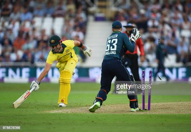 Marcus Stoinis of Australia is run out by Jonny Bairstow of England during the 3rd Royal London ODI match between England and Australia at Trent...