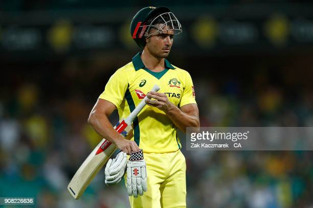 Marcus Stoinis of Australia leaves the field after being dismissed by Chris Woakes of England during game three of the One Day International series...