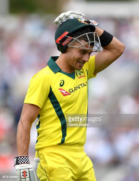 Marcus Stoinis of Australia leaves the field after being dismissed by Adil Rashid during the 1st Royal London ODI match between England and Australia...