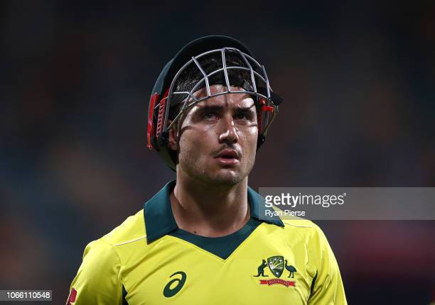 Marcus Stoinis of Australia looks dejected after being dismissed by Dwaine Pretorius of South Africa during game three of the One Day International...