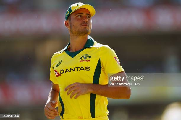 Marcus Stoinis of Australia looks on during game three of the One Day International series between Australia and England at Sydney Cricket Ground on...