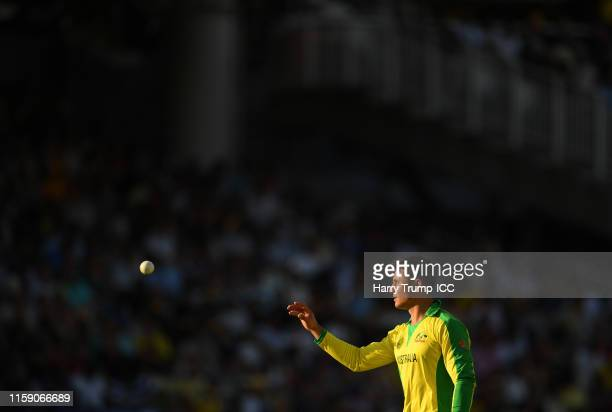 Marcus Stoinis of Australia looks on during the Group Stage match of the ICC Cricket World Cup 2019 between New Zealand and Australia at Lords on...