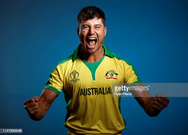 Marcus Stoinis of Australia poses during an Australia ICC One Day World Cup Portrait Session on May 07 2019 in Brisbane Australia