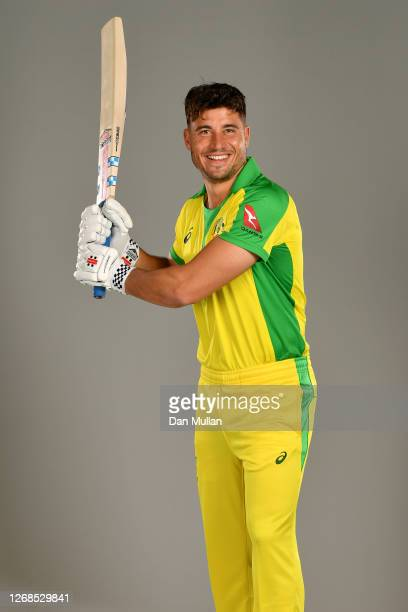 Marcus Stoinis of Australia poses for a portrait during the Australia Cricket Portrait Session at The County Ground on August 25, 2020 in Derby,...