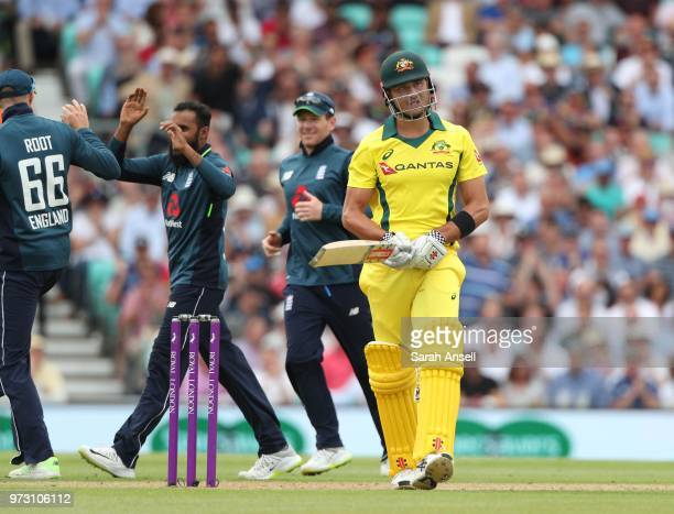 Marcus Stoinis of Australia reacts after being dismissed by England's Adil Rashid during the 1st Royal London ODI between England and Australia at...