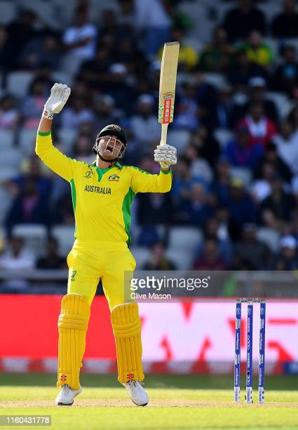 Marcus Stoinis of Australia reacts during the Group Stage match of the ICC Cricket World Cup 2019 between Australia and South Africa at Old Trafford...
