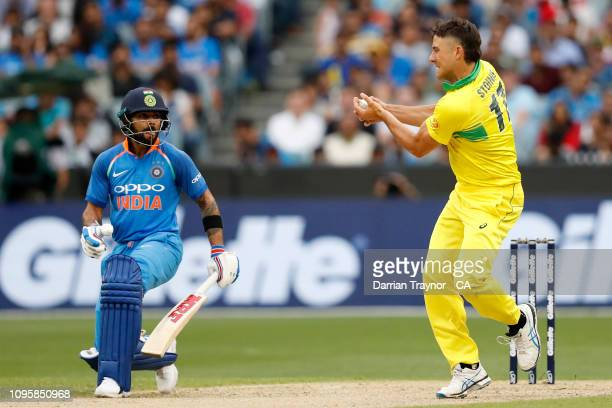 Marcus Stoinis of Australia takes a catch to dismiss Shaker Dhawan of India during game three of the One Day International series between Australia...