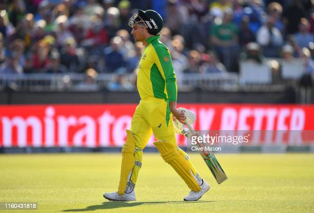 Marcus Stoinis of Australia walks off after being run out during the Group Stage match of the ICC Cricket World Cup 2019 between Australia and South...