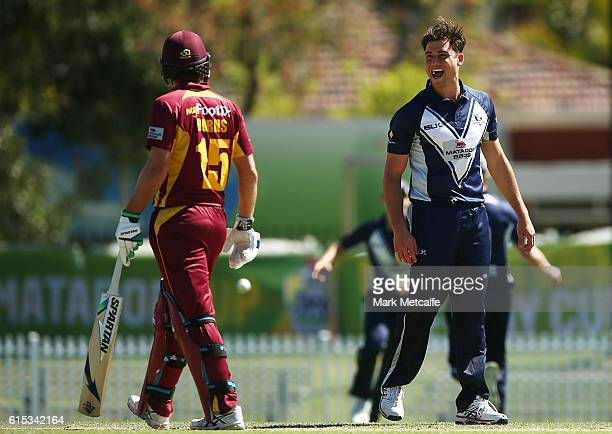 Marcus Stoinis of the Bushrangers celebrates in the direction of Joe Burns of the Bulls after taking the wicket of Jimmy Peirson of the Bulls during...