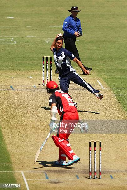 Marcus Stoinis of the Bushrangers fields during the Matador BBQs One Day Cup match between Victoria and South Australia at Bankstown Oval on October...