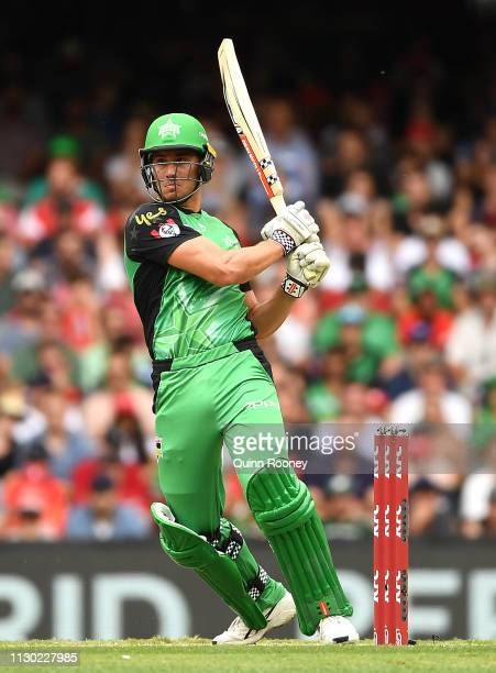 Marcus Stoinis of the Melbourne Stars bats during the Big Bash League Final match between the Melbourne Renegades and the Melbourne Stars at Marvel...