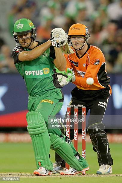 Marcus Stoinis of the Melbourne Stars bats during the Big Bash League Semi Final match between the Melbourne Stars and the Perth Scorchers at...