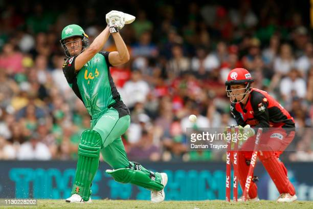 Marcus Stoinis of the Melbourne Stars is bowled by Cameron Boyce of the Renegades during the Big Bash League Final match between the Melbourne...