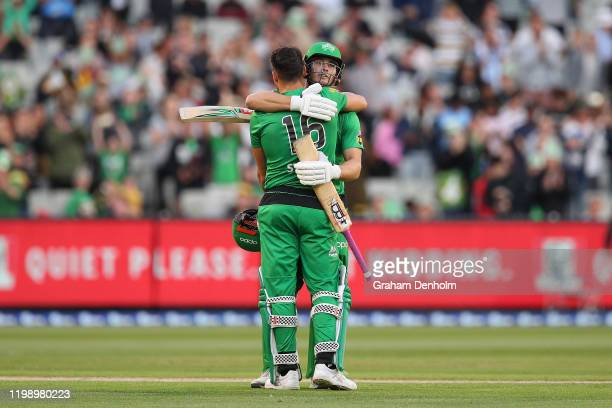 Marcus Stoinis of the Stars and Hilton Cartwright of the Stars embrace after Stoinis reached 100 runs during the Big Bash League match between the...