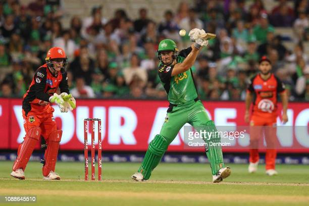 Marcus Stoinis of the Stars bats during the Big Bash League match between the Melbourne Stars and the Melbourne Renegades at Melbourne Cricket Ground...