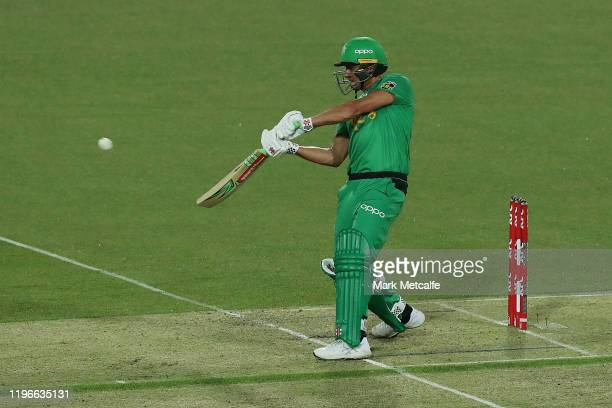Marcus Stoinis of the Stars bats during the Big Bash League match between the Hobart Hurricanes and the Melbourne Stars at University of Tasmania...