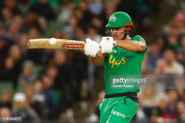 Marcus Stoinis of the Stars bats during the Big Bash League match between the Melbourne Stars and the Melbourne Renegades at the Melbourne Cricket...