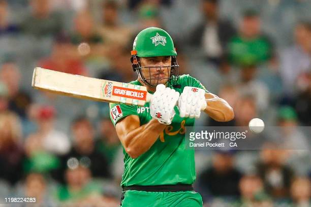 Marcus Stoinis of the Stars bats during the Big Bash League match between the Melbourne Stars and the Sydney Thunder at the Melbourne Cricket Ground...