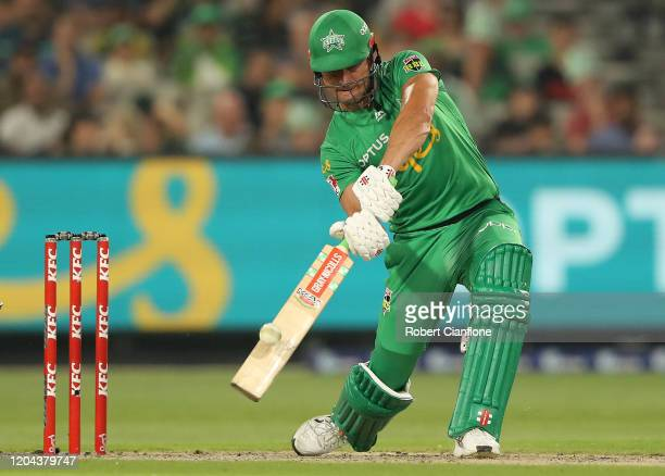 Marcus Stoinis of the Stars bats during the Big Bash League Challenger match between the Melbourne Stars and the Sydney Thunder at the Melbourne...