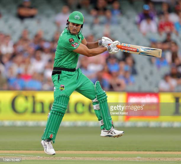 Marcus Stoinis of the Stars bats during the Big Bash League match between the Adelaide Strikers and the Melbourne Stars at Adelaide Oval, on January...