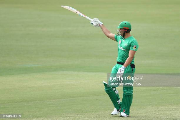 Marcus Stoinis of the Stars celebrates after reaching his half century during the Big Bash League match between the Melbourne Stars and Sydney...