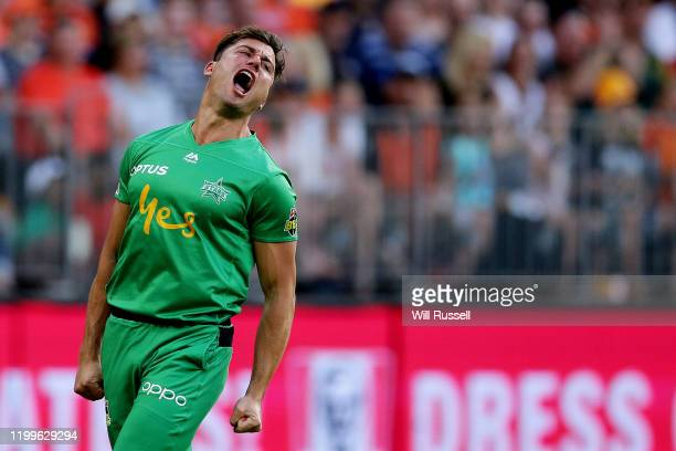 Marcus Stoinis of the Stars celebrates after taking a catch to dismiss Liam Livingstone of the Scorchers during the Big Bash League match between the...