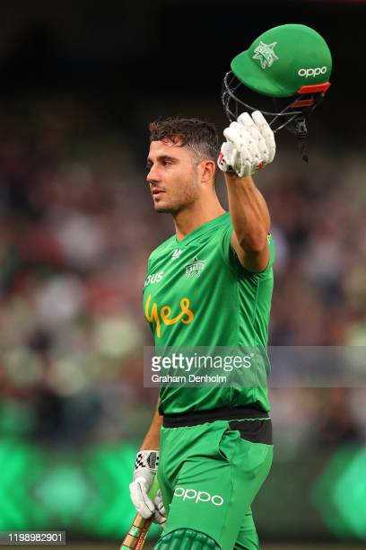Marcus Stoinis of the Stars celebrates during the Big Bash League match between the Melbourne Stars and the Sydney Sixers at the Melbourne Cricket...