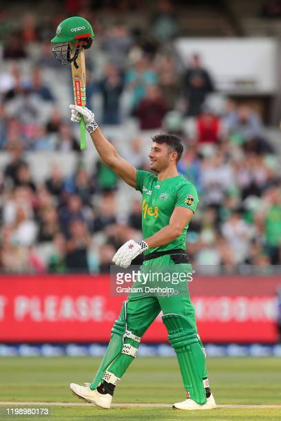 Marcus Stoinis of the Stars celebrates reaching 100 runs during the Big Bash League match between the Melbourne Stars and the Sydney Sixers at the...