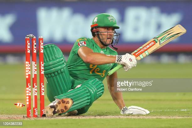 Marcus Stoinis of the Stars is bowled by Chris Morris of the Sydney Thunder during the Big Bash League Challenger match between the Melbourne Stars...