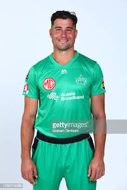 Marcus Stoinis of the Stars poses during the Melbourne Stars Big Bash League 2020/21 team headshots session at Junction Oval on December 09, 2020 in...