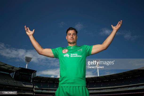 Marcus Stoinis of the Stars poses for a photograph during a Melbourne Stars BBL media opportunity at Melbourne Cricket Ground on January 14, 2021 in...
