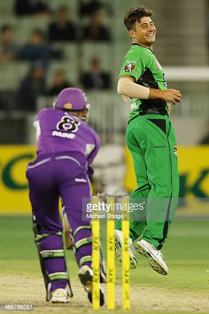 Marcus Stoinis of the Stars reacts after threatening to throw the ball at Tim Paine of the Hurricanes during the Big Bash League Semi Final match...