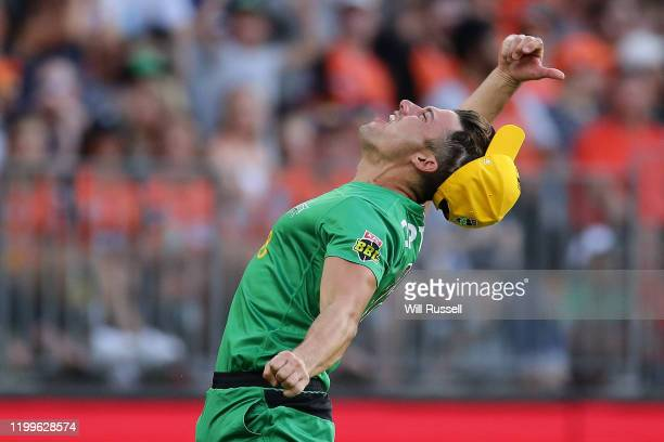 Marcus Stoinis of the Stars takes a catch to dismiss Liam Livingstone of the Scorchers during the Big Bash League match between the Perth Scorchers...