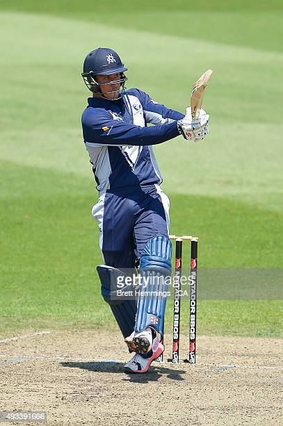 Marcus Stoinis of Victoria bats during the Matador BBQs One Day Cup match between Tasmania and Victoria at North Sydney Oval on October 20 2015 in...