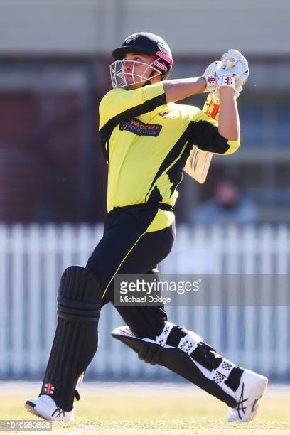 Marcus Stoinis of Western Australia hits the winning runs during the JLT One Day Cup between Victoria and Western Australia at Junction Oval on...