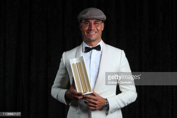Marcus Stoinis poses with the award for Men's ODI Player of the Year during the 2019 Australian Cricket Awards at Crown Palladium on February 11 2019...