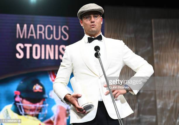 Marcus Stoinis speaks on stage after being awarded the Male One Day International Player of the Year during the 2019 Australian Cricket Awards at...
