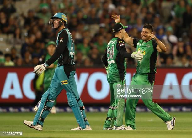 Marcus Stonis of the Stars celebrates the wicket of Matthew Renshaw of the Brisbane Heat during the Big Bash League match between the Melbourne Stars...
