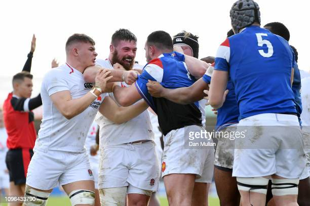 Marcus Street of England and JeanBaptiste Gros of France push and shove during the Under 20 Six Nations match between England U20 and France U20 at...