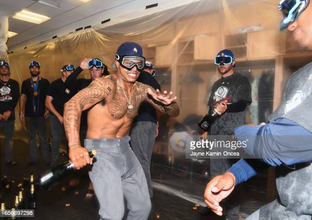 Marcus Stroman of team United States celebrates in the locker room after their 80 win over team Puerto Rico during Game 3 of the Championship Round...