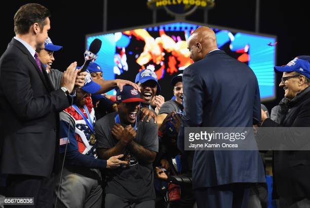 Marcus Stroman of team United States is annonced as the MVP after their 80 win over team Puerto Rico during Game 3 of the Championship Round of the...