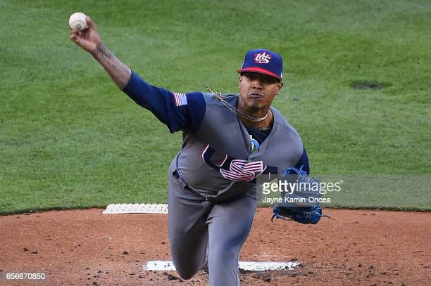 Marcus Stroman of team United States pitches against team Puerto Rico in the first inning during Game 3 of the Championship Round of the 2017 World...