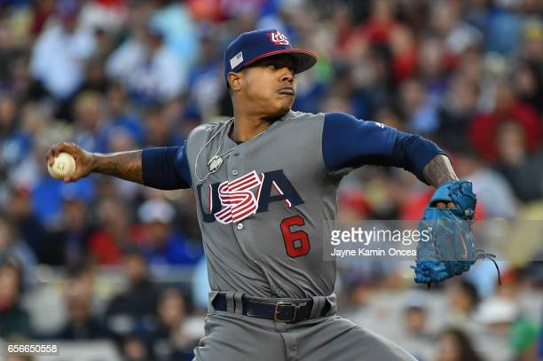 Marcus Stroman of team United States pitches in the second inning against team Puerto Rico during Game 3 of the Championship Round of the 2017 World...