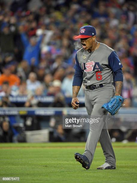 Marcus Stroman of Team USA reacts during Game 3 of the Championship Round of the 2017 World Baseball Classic against Team Puerto Rico on Wednesday...