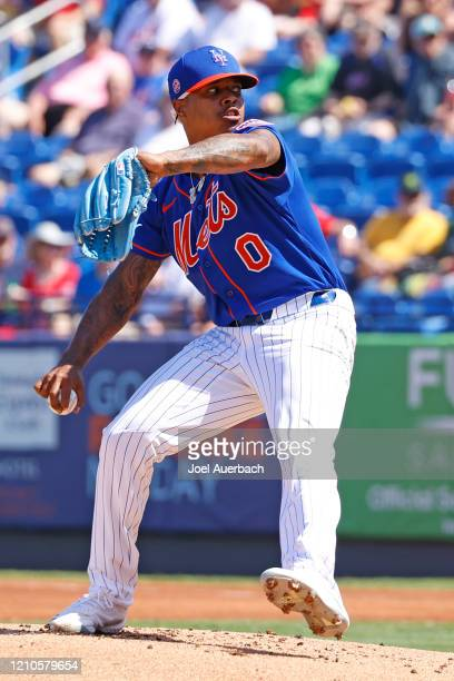 Marcus Stroman of the New York Mets throws the ball against the St Louis Cardinals during a spring training game at Clover Park on March 4, 2020 in...