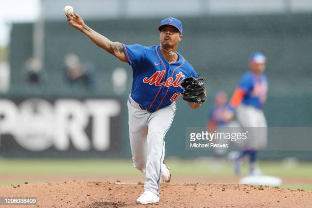 Marcus Stroman of the New York Mets warms up in the second inning of a Grapefruit League spring training game at Roger Dean Stadium on February 22,...