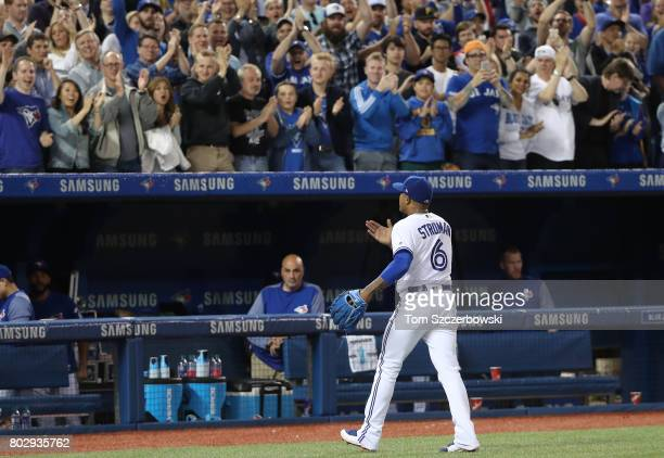 Marcus Stroman of the Toronto Blue Jays acknowledges the crowd ovation as he exits the game in the eighth inning during MLB game action against the...